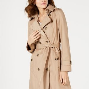 London Fog Double Breasted Hooded Trench Coat M
